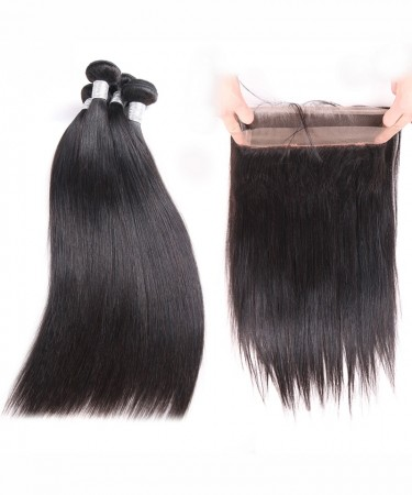 Brazilian Virgin Hair Yaki Straight 360 Lace Frontal With 2 Bundles