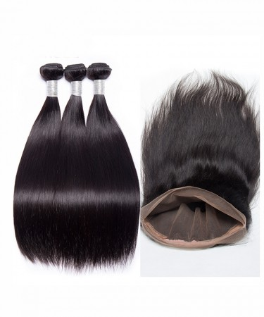Brazilian Virgin Hair Straight 360 Lace Frontal Closure With 3 Bundles