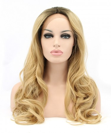 Golden Yellow Women Fashion Synthetic Wig Big Blonde Wavy