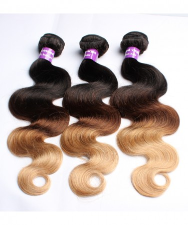 Peruvian Body Wave Ombre Hair Bundles T1B/4/27 3 Tone Non Remy Hair Weaves Machine Double Weft 3Bundle