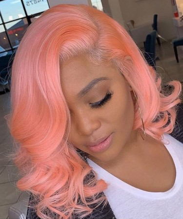 Bright Pink Lace Front Bob Wigs For Black Women Colorful Invisible Lace Human Hair Wigs