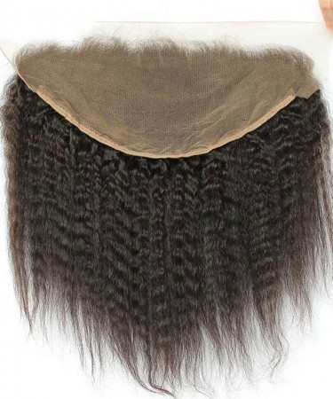 13X6 Lace Frontal Closure With Baby Hair Kinky Straight Brazilian Remy Hair Natural Black