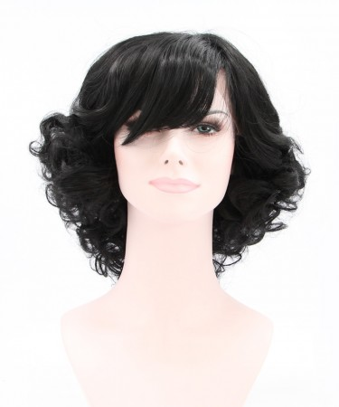 Side Part Short Curly  Synthetic Wig With Bang