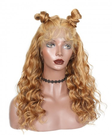 Loose Wave Honey Blond Color #27 360 Lace Frontal Wig Pre Plucked With Baby Hair 180% Density