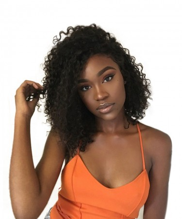 Msbuy 13x6 Lace Front Bob Wigs 150% Density Curly Human Hair Wig For Black Women