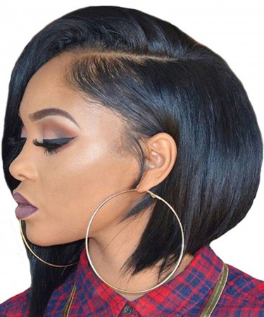 Short Straight Bob Style 360 Lace Frontal Wigs 150% Density