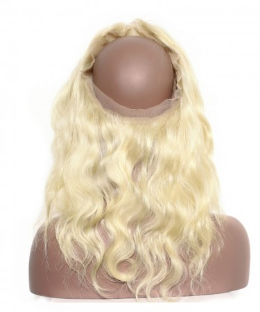 Pre Plucked 613 Blonde 360 Lace Frontal Closure Body Wave Remy Brazilian Hair