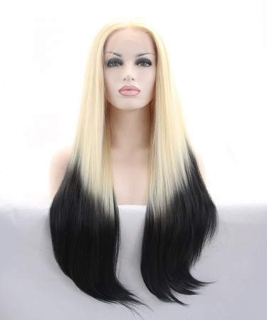 Blonde Root Black Ombre Synthetic Wig