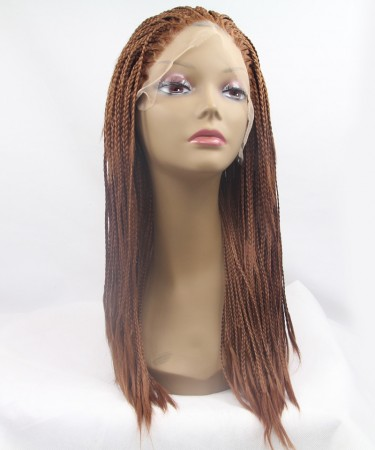 Brown Color Braided Synthetic Wig