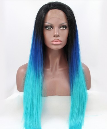 Straight Long Wig Three Color 1B/Blue/Light Blue Ombre Synthetic Wig