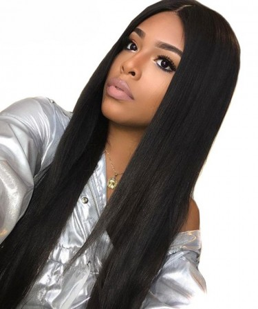 SALE! 150% Density 18inch Lace Front Human Hair Wigs Silky Straight Medium Cap Size