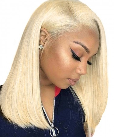 Kim Kardashian Blonde #613 Color Straight Wig Lace Front Human Hair Wigs 130% Density