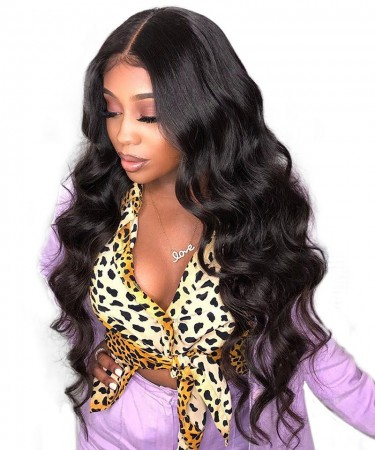 Msbuy Hair Wigs 360 Lace Frontal Wigs Body Wave For Black Women Pre Plucked Brazilian 150% Density Lace Wig