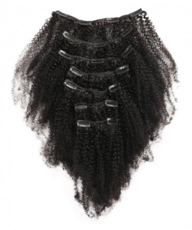 Afro Kinky Curly Clip In Human Hair Extensions Brazilian 100% Remy Hair 120g/Set