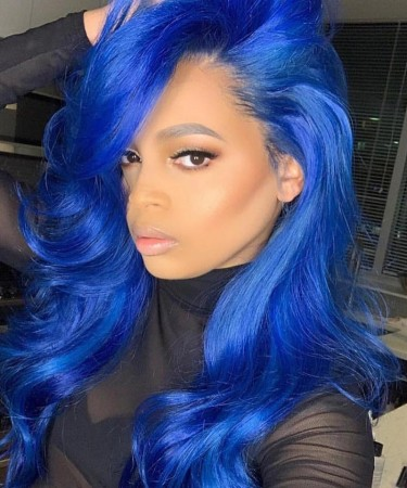 Msbuy Blue Color 13x6 Lace Front Wigs 150 Density Straight Colorful Human Hair Wig For Women