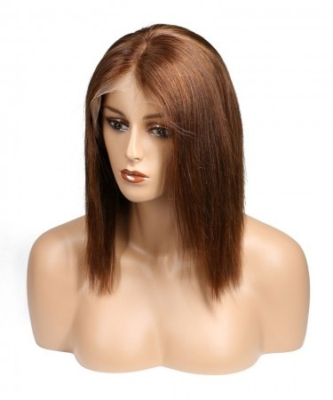 Brown Color #4 Brazilian Remy Hair Pre Plucked Lace Front Human Hair Wigs 120% Density