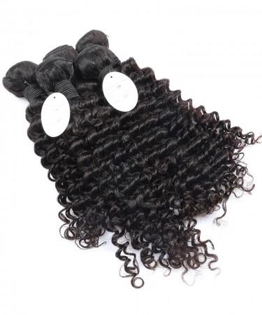 Brazilian Virgin Hair Weave Bundles Deep Wave 100% Human Hair Nature Color 3 Bundles
