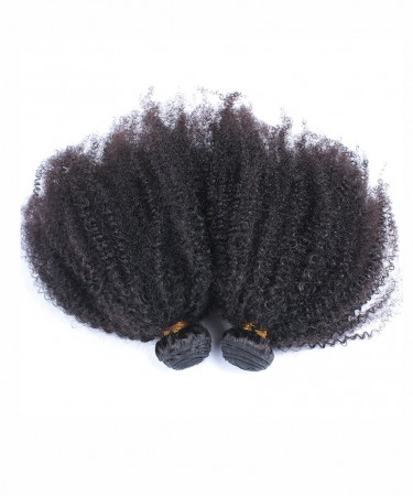 Afro Kinky Curly Virgin Hair Weave Double Weft Human Hair 2 Bundles