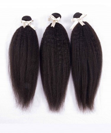 Peruvian Virgin Hair Kinky Straight 100% Unprocessed Human Virgin Hair Weave 3 Bundles