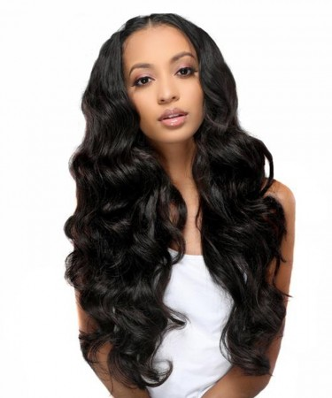 Lace Front Human Hair Wigs 120% Density Body Wave Natural Black Color