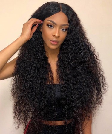 SALE! Msbuy Deep Curly Lace Front Human Hair Wigs Glueless 150% Density Brazilian Virgin Remy Wigs