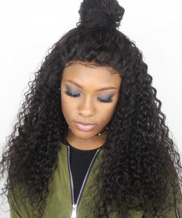 Brazilian Hair 180% Density Thick Deep Curly Full Lace Human Hair Wigs