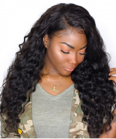Full Lace Human Hair wigs Deep Wave 120% Density Brazilian Virgin Hair
