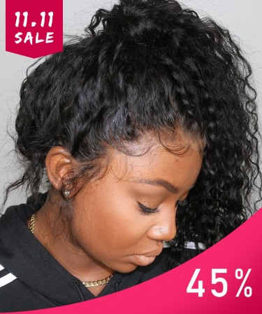 Msbuy Deep Curly 360 Undetected Lace Frontal Wigs For Black Women 150% Density Lace Wigs With Baby Hair