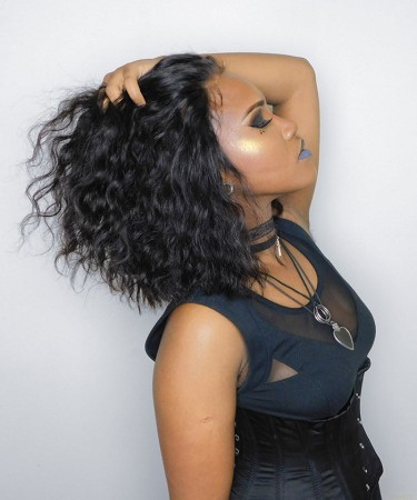 Loose Wave Bob Style 360 Lace Frontal Wigs 180% Density