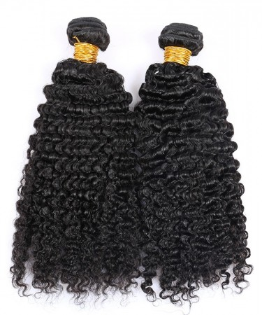 Kinky Curly Virgin Hair Weave Double Weft Human Hair 2 Bundles