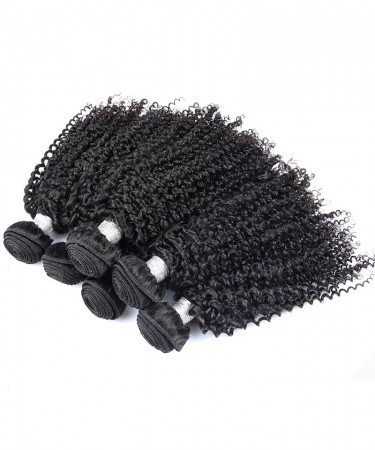 Kinky Curly Hair Weft 2 Bundles Natural Color 100% Human Hair Weaving