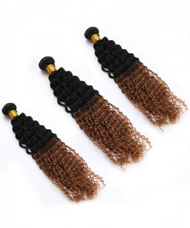 3 Pcs Afro Kinky Curly Hair Bundles 1B/30 Ombre Human Hair Bundles