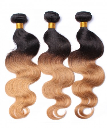 3 Pcs Ombre 1b/27 Honey Blonde Brazilian Hair Weave Bundles