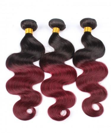 3 Pcs Ombre Brazilian Hair Weave Bundles 1B/99J Burgundy Brazilian Hair
