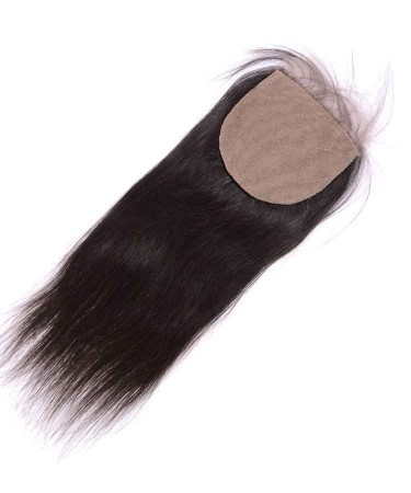 Silk Base Closure Straight Brazilian Remy Human Hair 4x4 Free Part Closure