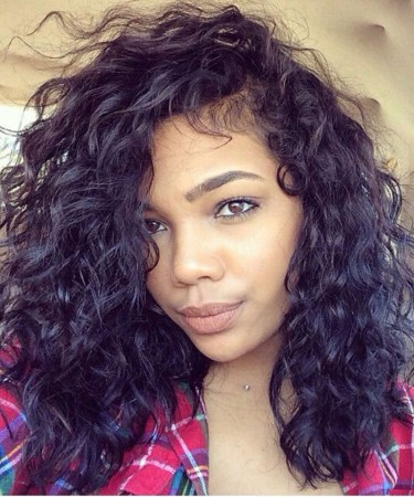 Loose Wave Full Lace Wig For Black Women Brazilian Virgin Hair 12 inches