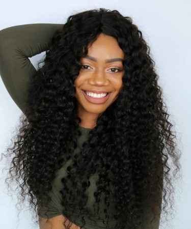 Glue Needed Deep Curly Full Lace Human Hair Wig No Combs No Straps