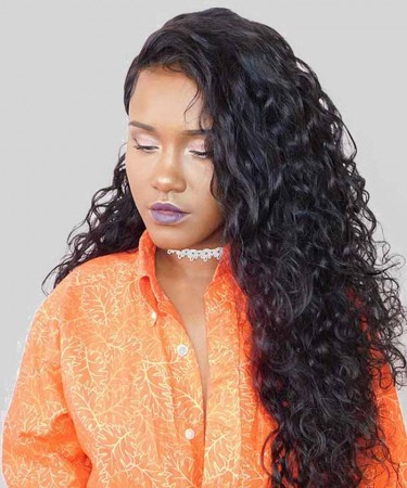 180% Density 360 Lace Frontal Wigs Pre Plucked With Baby Hair Water Wave
