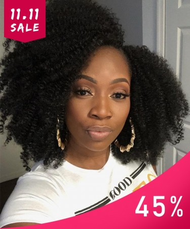 Msbuy 13x6 Lace Front Bob Wigs 150% Density Afro Kinky Curly Human Hair Wig For Black Women