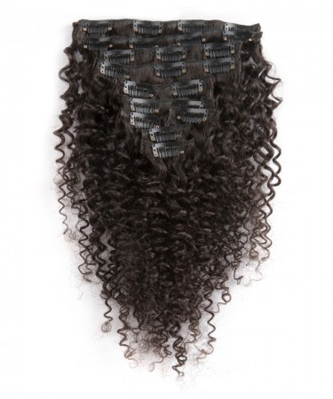Deep Wave Brazilian Hair Clip In Human Hair Extensions 7 Pieces/Set Natural Color 120g/set