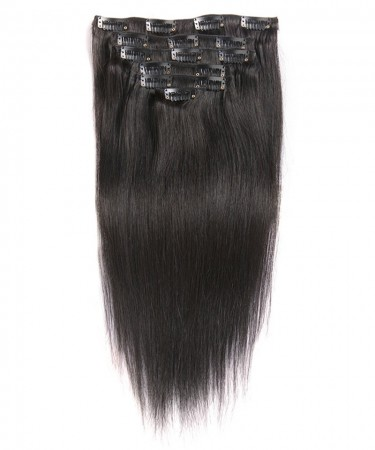 Brazilian Straight Virgin Hair Clip In Human Hair Extensions 7 Pieces/Set Natural Color