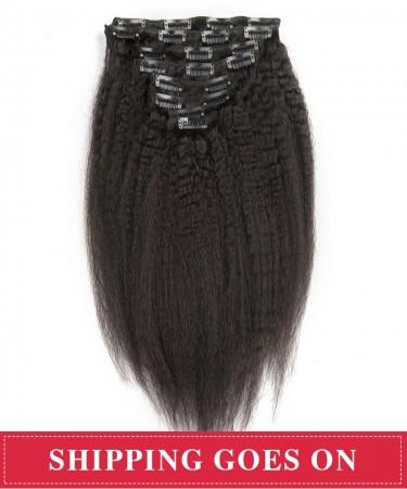 Kinky Straight Virgin Hair 7Pcs Hair Peruvian Clip In Human Hair Extensions 120g/set