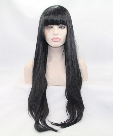 Black Long Straight Wig Synthetic Wig With Bang