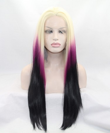Blonde/Purple Ombre Synthetic Wig