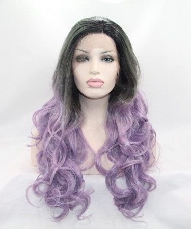 Grey/Light Purple Ombre Synthetic Wig