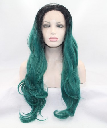 Long Wavy 1B/Green Ombre Synthetic Wig