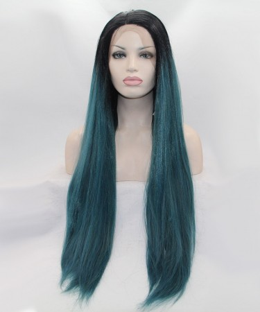 1B/Blue Ombre Long Straight Synthetic Wig