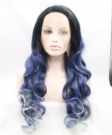 1B/Blue With White Highlight Synthetic Wig For Black Women