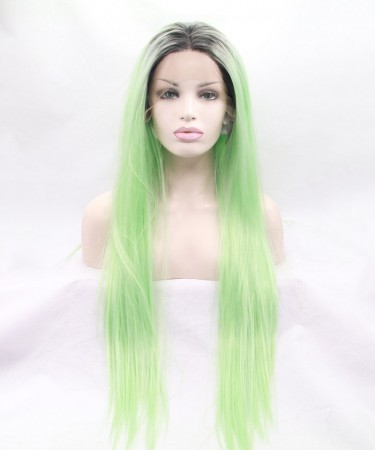 Grey/Light Green Ombre Straight Fashionable Synthetic Wig