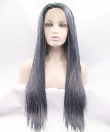 Grey Color Fashionable Synthetic Wig